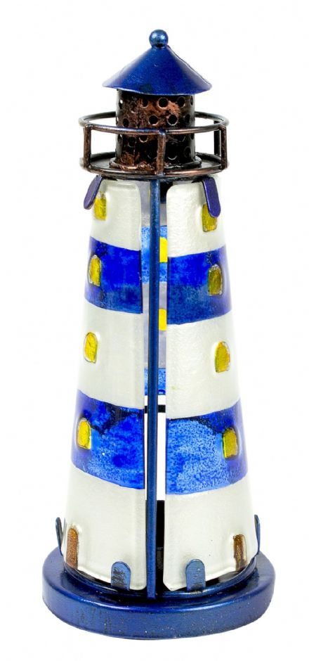 Blue Stained Glass Lighthouse Metal Nautical Tea Light Holder